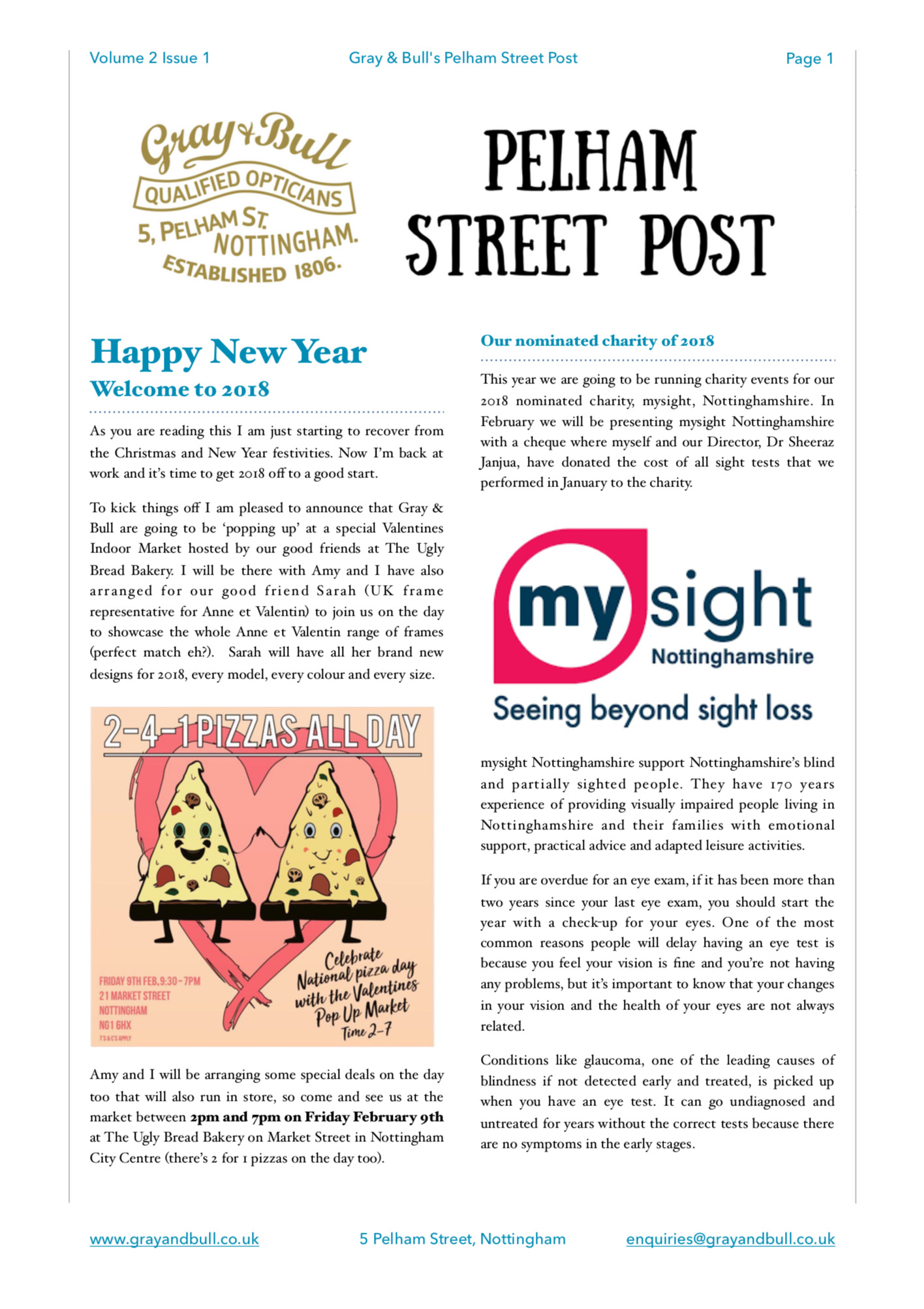 Happy New Year Valentine Pop-Up MySight Nottm Charity Pelham Street Post