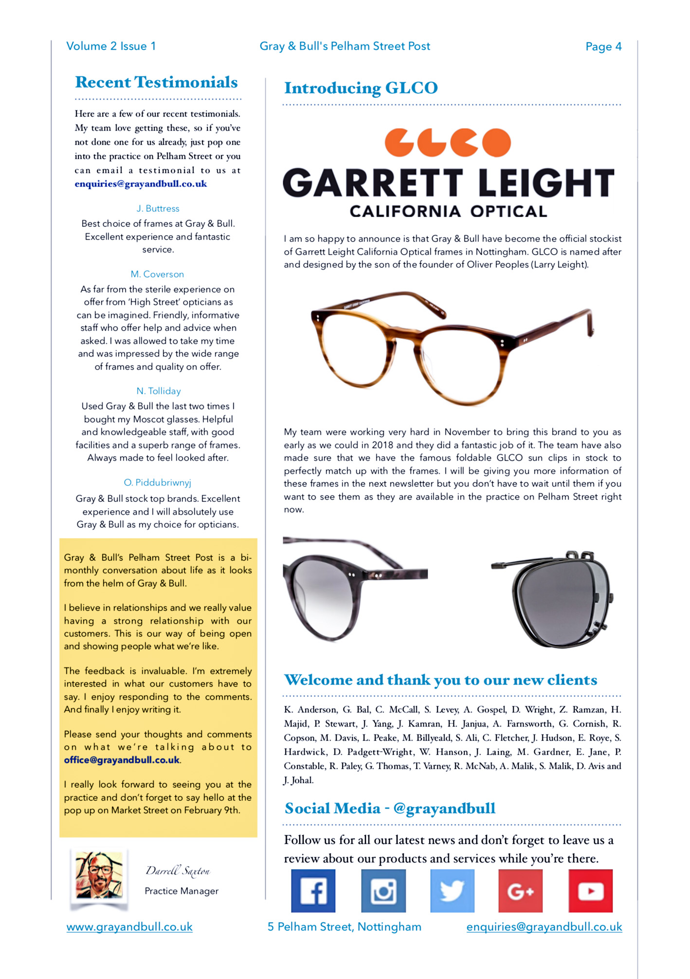 Pelham Street Post Testimonial Garrett Leight New Clients Social Media